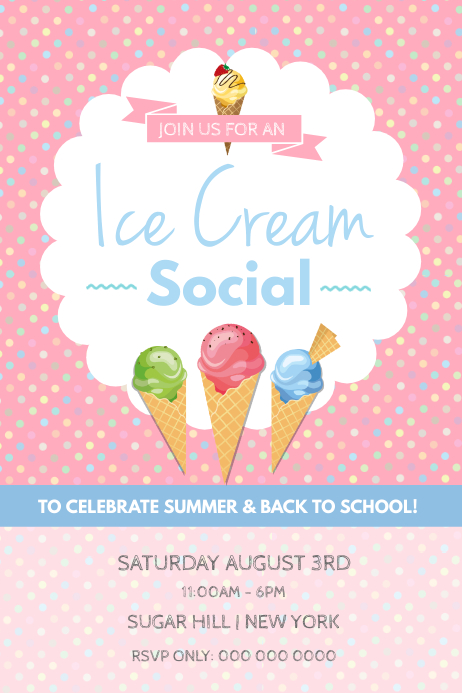 Ice Cream Social Party Pink Poster Póster template