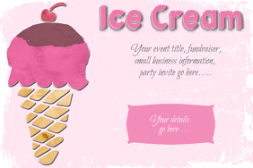 Ice Cream Social Party Sweets Poster Flyer Template pink