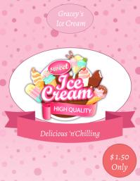 Ice Cream Social Poster Volante (Carta US) template