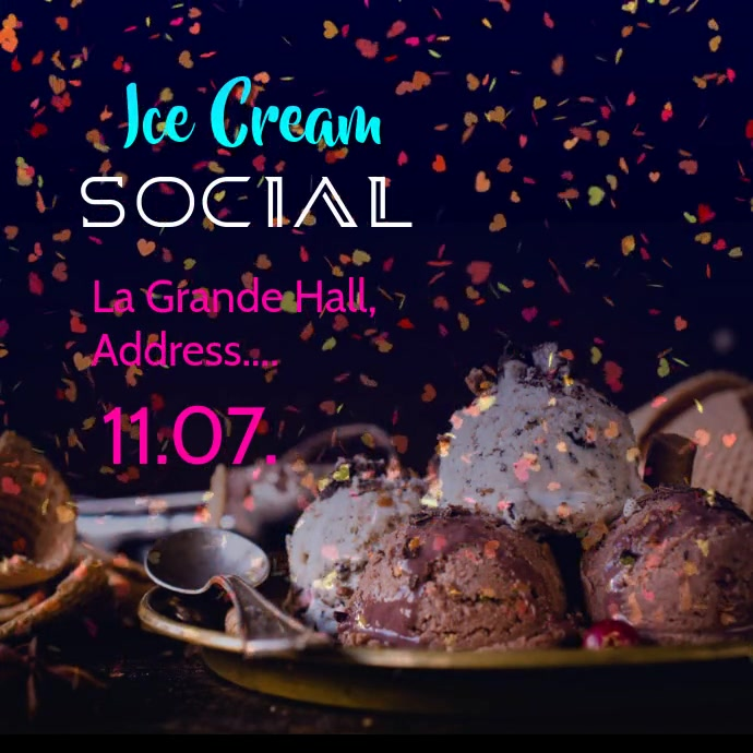 Ice cream social poster post Instagram-opslag template