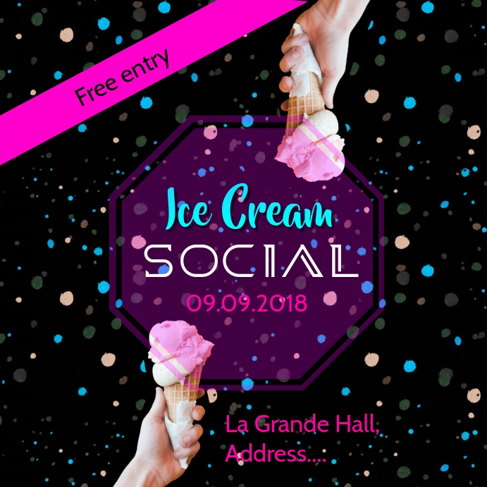 Ice cream social poster post template