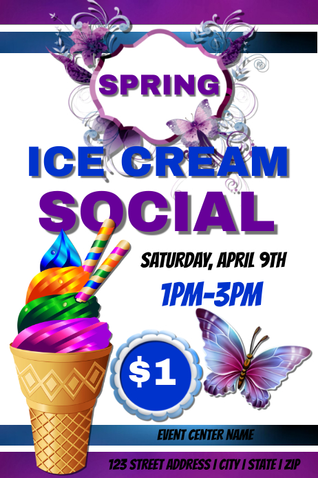 ice cream social template postermywall