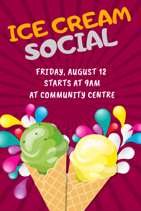 Ice Cream Social Poster template