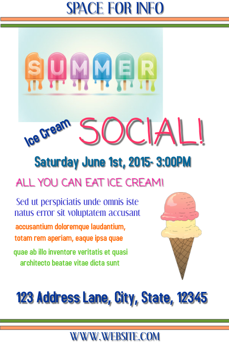 ICE CREAM SOCIAL Template | PosterMyWall