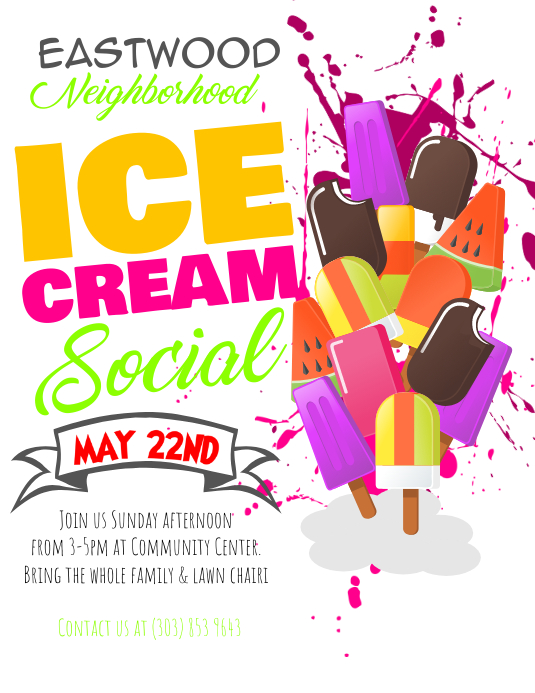 ice cream social flyer postermywall