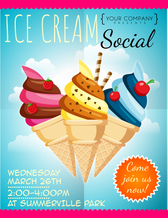 Ice Cream Social Flyer Annesutu