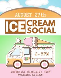 Ice Cream Social Flyer Template Рекламная листовка (US Letter)