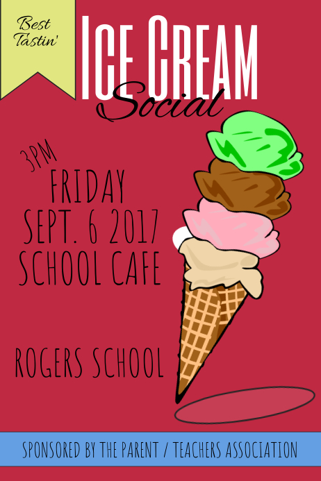 ice cream social poster template postermywall