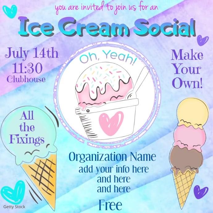 Ice Cream Social Video Audio Kvadrat (1:1) template