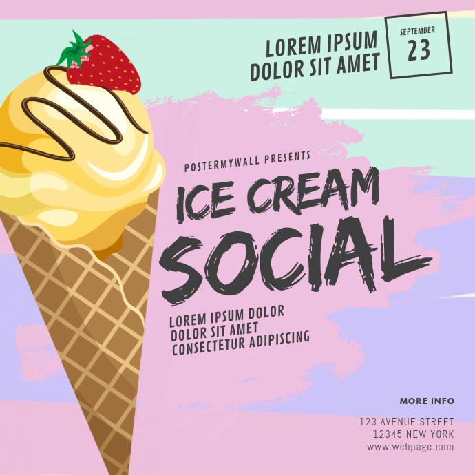 Ice Cream Social Video Design Template