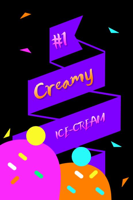 Ice Cream Sprinkles Neon Poster template