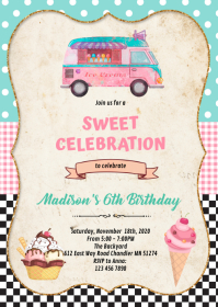 Ice Cream truck birthday invitation A6 template