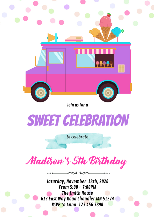 Ice cream truck birthday invitation A6 template
