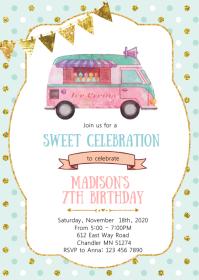 Ice cream truck birthday party invitation