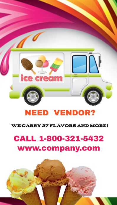 ice cream truck vendor business card template postermywall