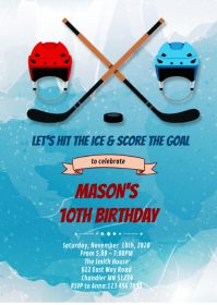 Ice hockey birthday party invitation
