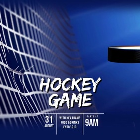 Ice Hockey game video ad template Square (1:1)