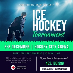 Ice Hockey Sports Square Video template