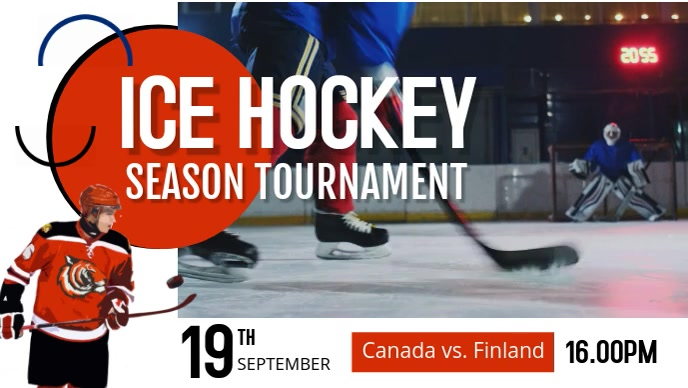 Ice Hockey Tournament Facebook Cover Video template