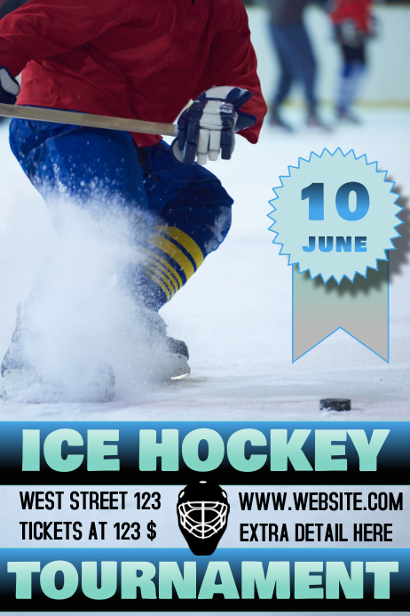 ICE HOCKEY TOURNAMENT FLYER/POSTER template