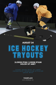 Ice hockey tryouts flyer template
