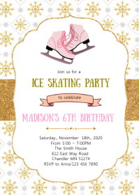 Ice skating birthday invitation A6 template