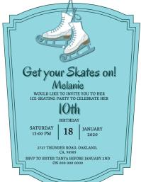 Ice-Skating Birthday invitation Template