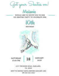 Ice-Skating Birthday invitation Template