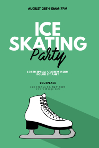 Ice Skating Party Flyer Design Template