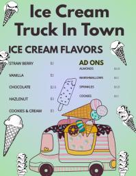 Icecream truck flyer Ulotka (US Letter) template