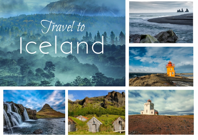 Iceland Vacation Travel Collage Postal template