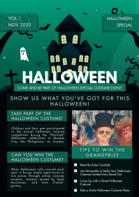 Icky Green School Newsletter Halloween A4 template