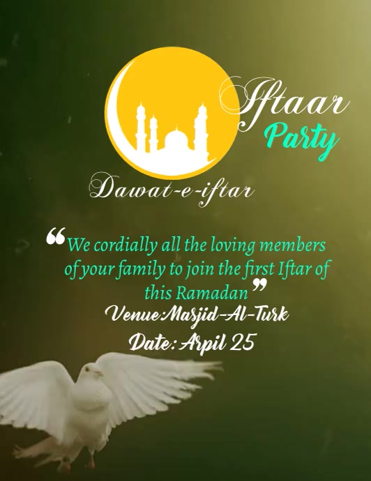 Iftar Party Event Video Volantino (US Letter) template