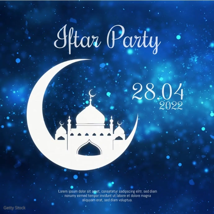 Iftar Party Ramadan Night Video Stars Advert Quadrado (1:1) template