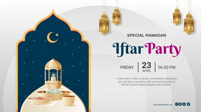 Iftar Party Ramadan Poster Banner Digitalt display (16:9) template