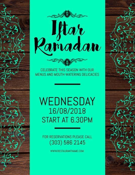 Iftar Ramadan Flyer Volante (Carta US) template