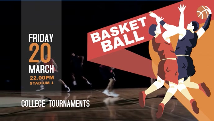 Illustrated Basketball Facebook Banner Video