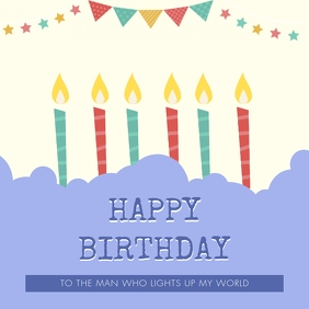 Illustrated Birthday Wish with Candles Instagram Post template