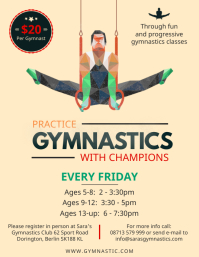 Illustrated Gymnastics coaching center flyer template