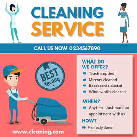 Illustrated House Cleaning Advert Sample