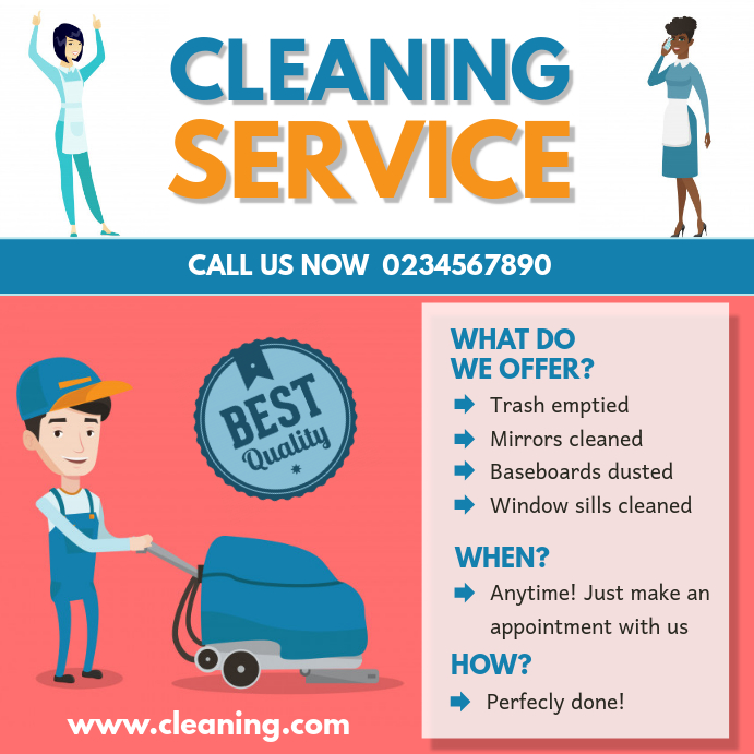 Illustrated House Cleaning Advert Sample Template Postermywall