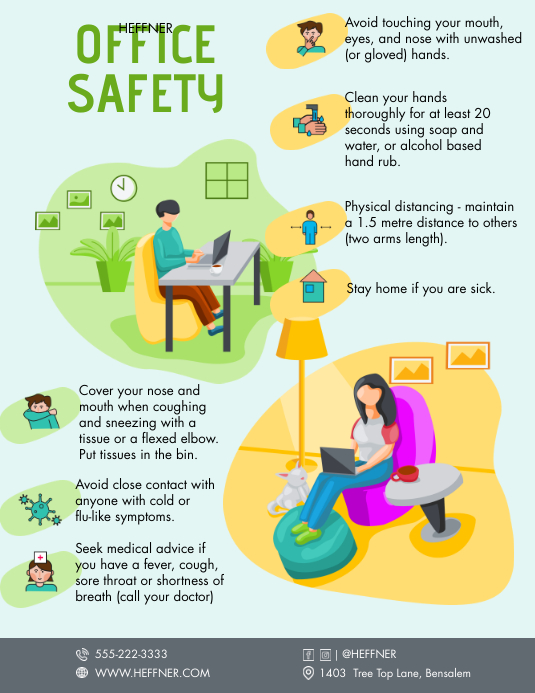 Illustrated Office Safety Guidelines Handout Рекламная листовка (US Letter) template
