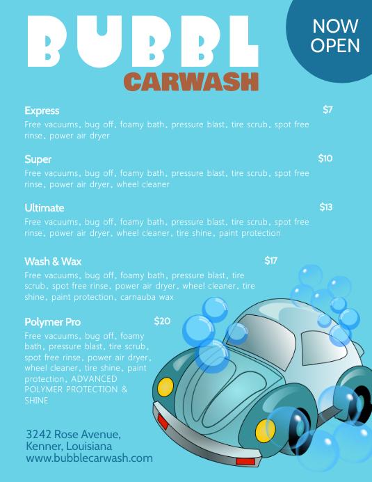 illustrative car wash price list templates postermywall. Black Bedroom Furniture Sets. Home Design Ideas