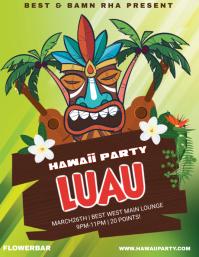 Illustrative Hawaiian Party Template Flyer (US Letter)