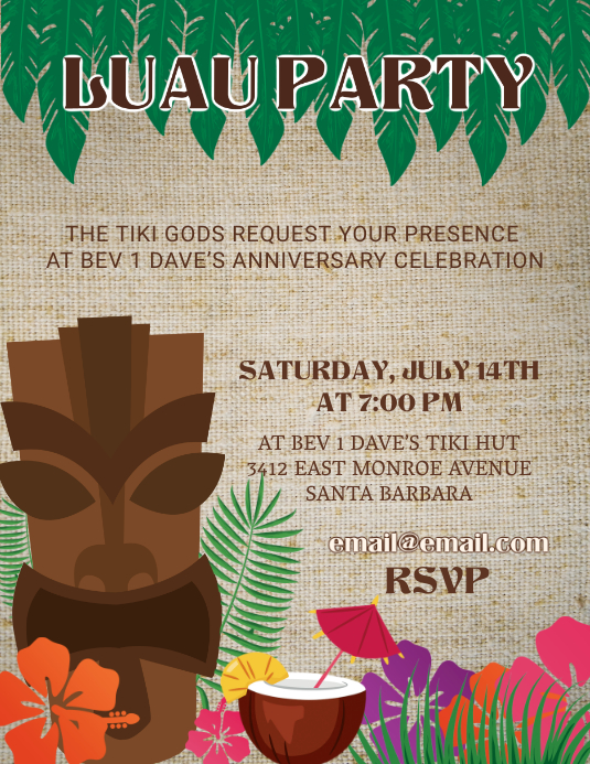 Illustrative Hawiian Party Flyer Template