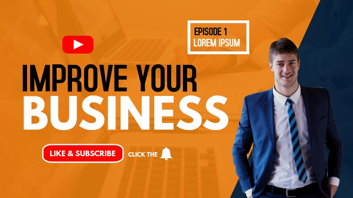 improve your business youtube thumbnail YouTube-miniature template