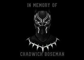 in memory of Chadwick Boseman black panther Pocztówka template