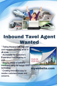 Inbound Travel agent Wanted Poster template