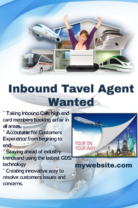 Customizable Design Templates For Travel Agent Help Wanted Flyer