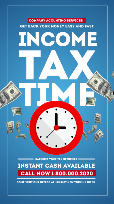 Income Tax Prep Services TIME Instagram story Instagram-verhaal template